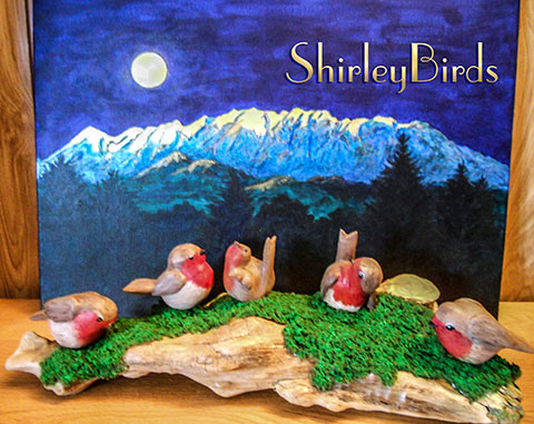 2015-English Robins & Timpanogas Mountain & Moon by ShirleyBirds