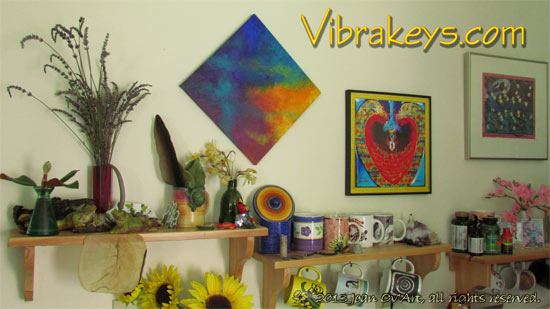"""This shows my Vibrakey Art, Sacred HeartGate with a Gold Border with beautiful message from Mary Magdalene. This can be purchased here as a Fine Art print up to 13x13"""" as seen here on my kitchen wall."""